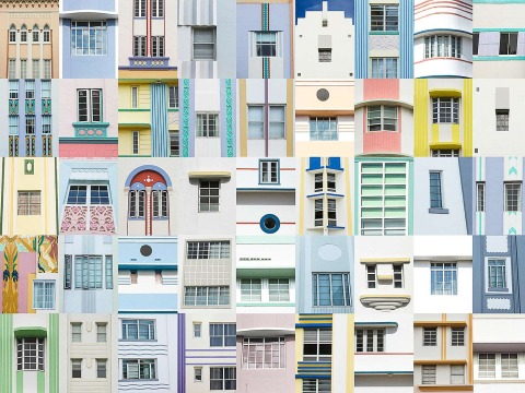 Montage collection of Art Deco Building Architecture windows and patterns compilation in South Beach Miami Florida
