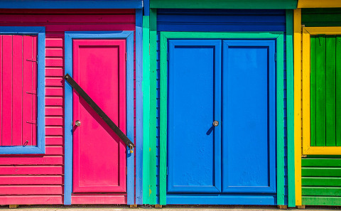 Architecture Bahamas Wooden Beach huts sheds in bright colors