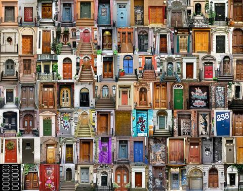 Collection of doors montage in New York City NYC compilation