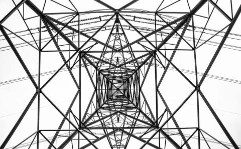 Electricity Pylon Viewed from underneath patterned frame