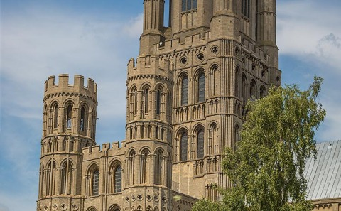 exterior Ornate Carved stone architecture of Ely Cathedral Church in England