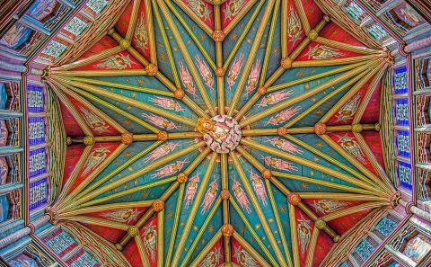 Ornate Carved Wooden Ceiling architecture star pattern in Ely Cathedral Church in England