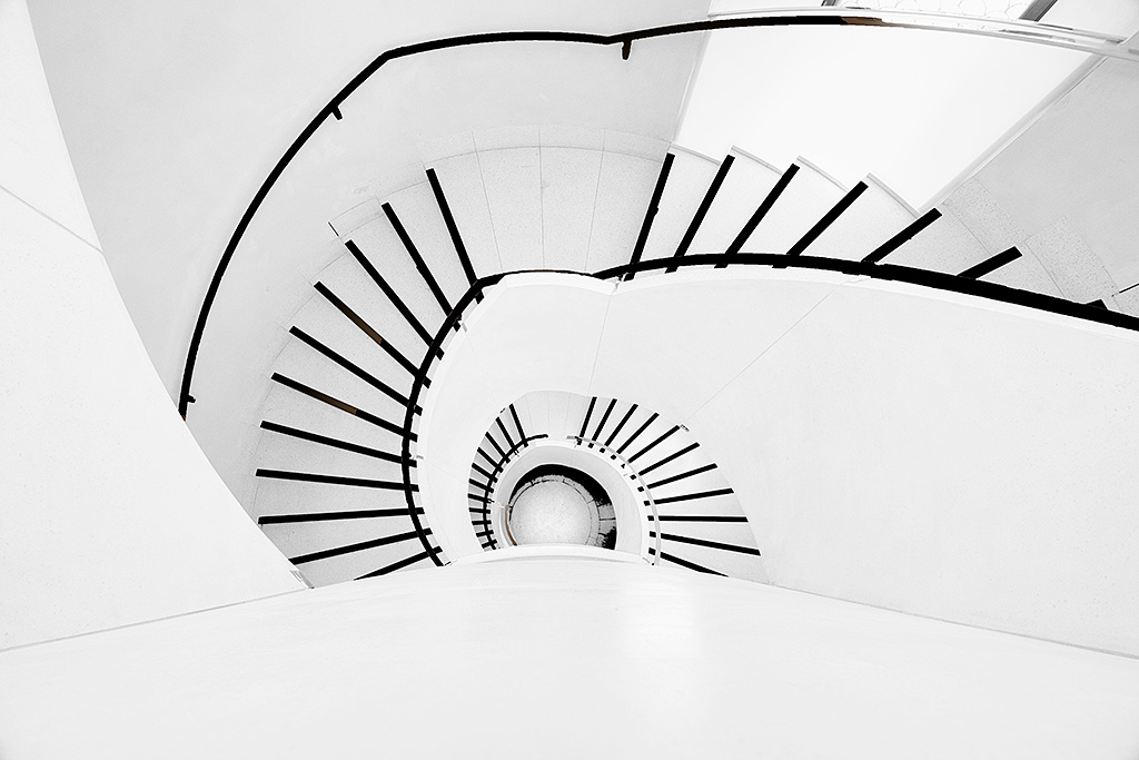 Black and white spiral staircase Architecture of the Victoria and Albert Museum in London England