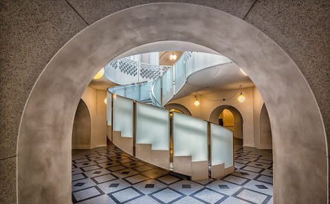 Spiral staircase and Tiled Floor Architecture of the Victoria and Albert Museum in London UK
