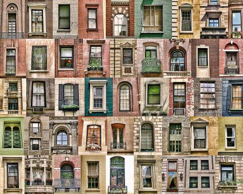 Montage collection of vintage windows compilation in New York City NYC