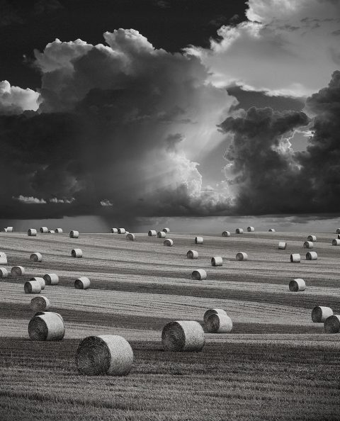 Stormy Harvest Landscape Hay Bales and Storm Sky and Clouds in England