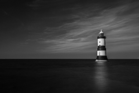 Penmon Lighthouse in Anglesey Wales Landscape Long Exposure in Black and white