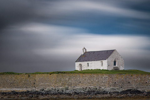 Wales Smallest Church Cwyfans with Long exposure Clouds Landscape