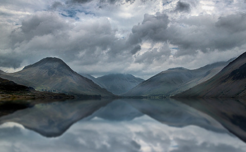 Lake Wasdale in the Lake District in Cumbria England Water Landscape with Mountain reflections