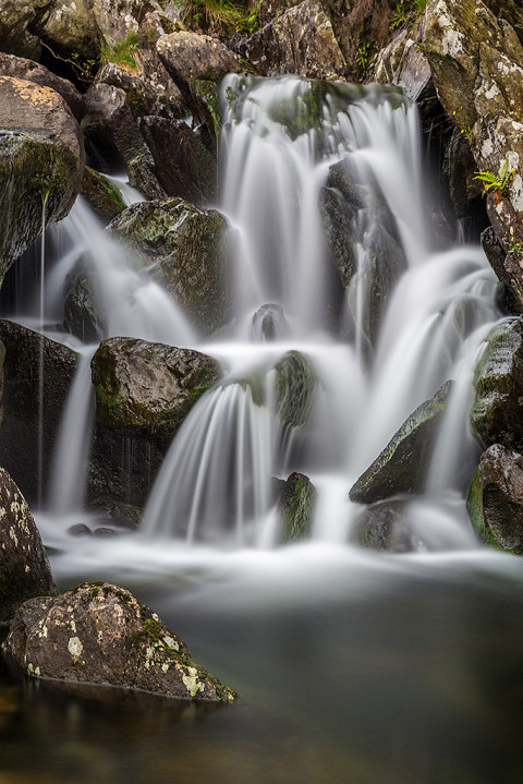 Landscape Photograph of a Blurred Waterfall in Wales UK