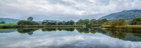 Lake Windermere in the Lake District in Cumbria England Water Landscape with Tree reflections Panorama