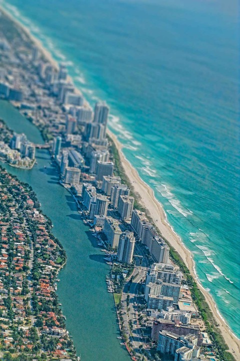 Miami Florida Condo Skyline, intracoastal Canal and Beach and Atlantic Ocean viewed from the Air