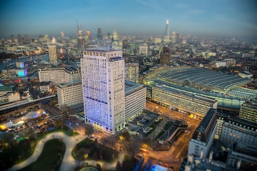 London Architecture waterloo train station cityscape tilt shift Shard Building blue hour