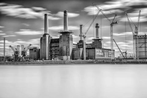 London Battersea Power Station and River Thames Long Exposure Cranes and Construction
