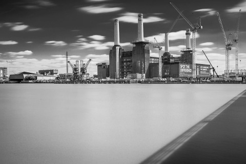 London Battersea Power Station and River Thames Long Exposure