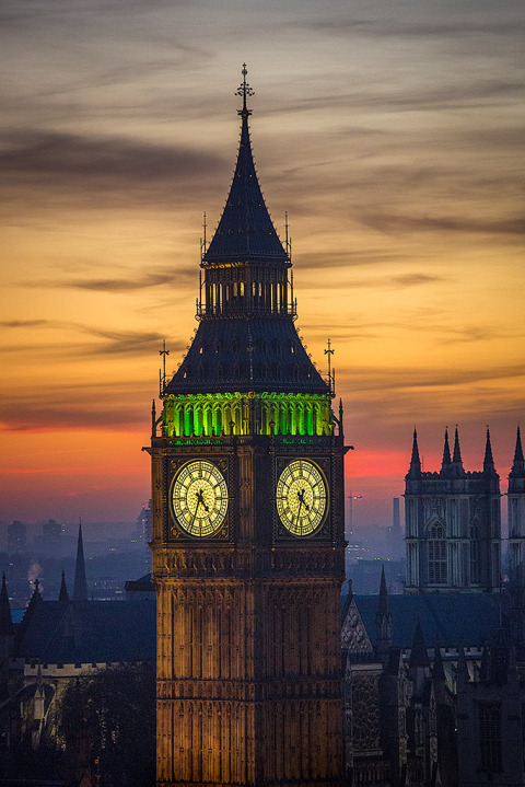 London Big Ben Clock Tower Night Lights Sunset Cityscape orange sky