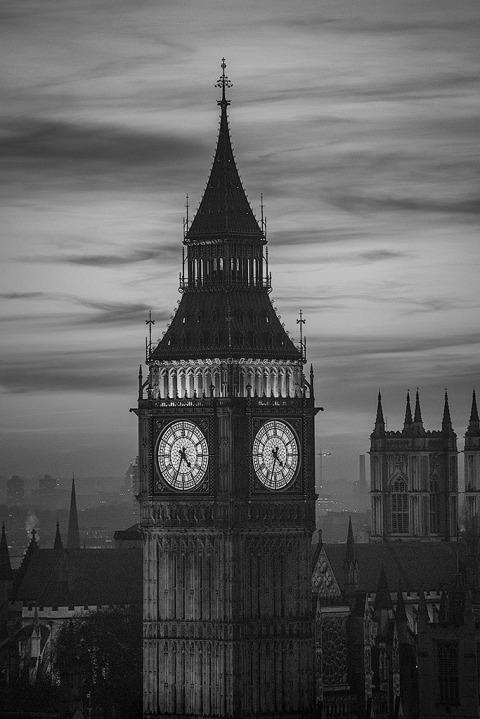 London Big Ben Clock Tower Night Lights Cityscape vertical portrait in black and white