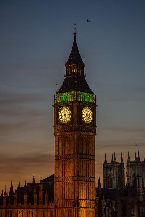 London Big Ben Clock Tower Night Lights Sunset sky vertical Cityscape