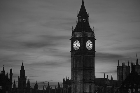 London Big Ben Clock Tower Night Lights Sunset sky Cityscape in black and white