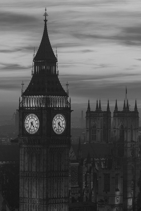 London Big Ben Clock Tower Night Lights Sunset sky Cityscape vertical portrait in black and white