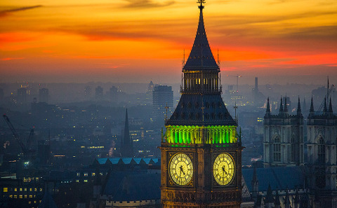 London Big Ben Clock Tower Night Lights Sunset Cityscape