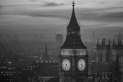 London Big Ben Clock Tower Night Lights Cityscape Landscape portrait in black and white