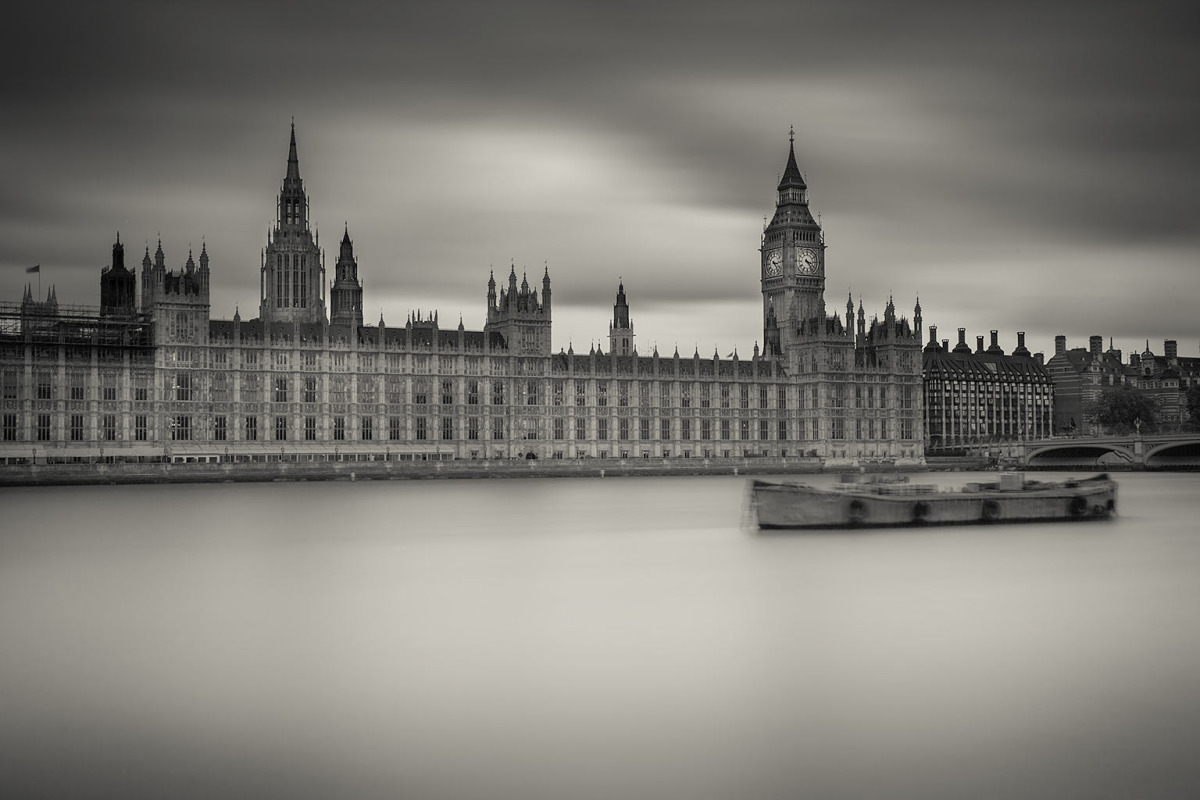 London Big Ben Houses of Parliament and River Thames Long Exposure