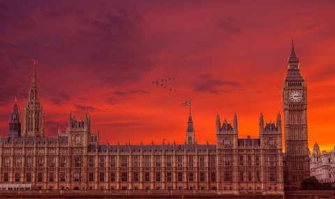 London Big Ben and Parliament at Sunset with Red Sky