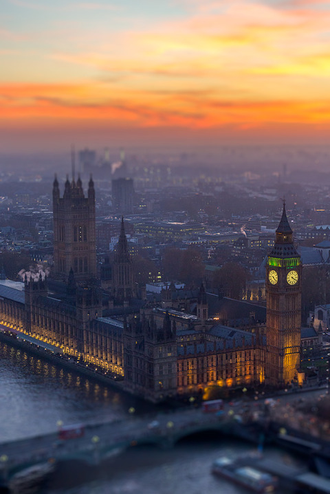 London Big Ben Westminster Palace Building Cityscape Sunset viewed from London Eye