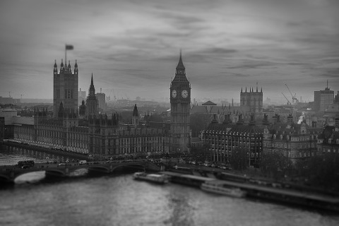 London Big Ben Westminster Palace British Flag Union Cityscape Tilt shift in black and white
