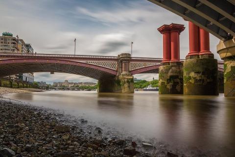 London Bridge form shoreline of River Thames under the bridge Architecture