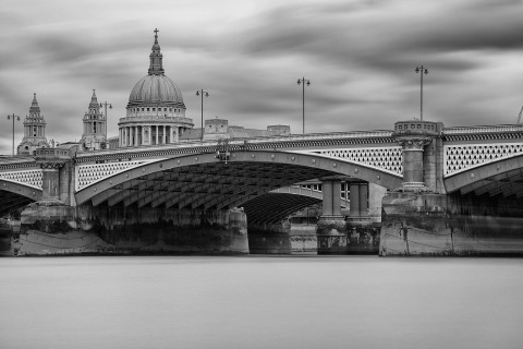 London Bridge and St Pauls Cathedral River Thames Long Exposure