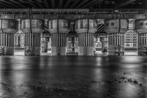 UK River Thames Under London Bridge Shore Architecture Cityscape Long Exposure Night