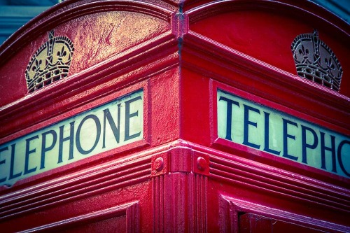 London England Iconic Red Telephone Box Close Up