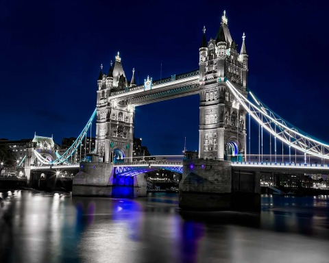 London Tower Bridge Lights in Blue at Night by River Thames