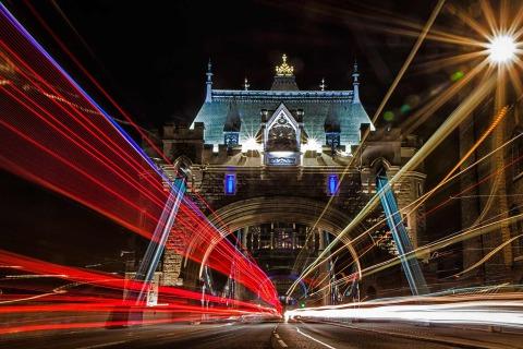 London Tower Bridge Lights Car Trails