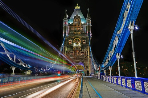 London Tower Bridge at night with Car Trails lights