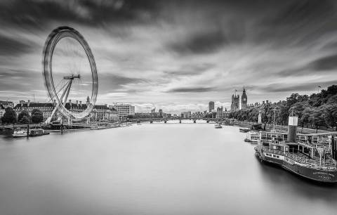 London Eye and River Thames Big Ben Long Exposure