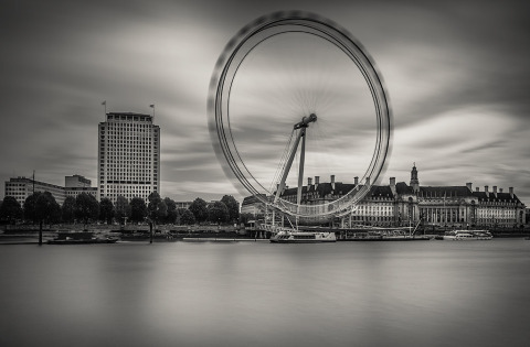 London Eye Silhouette and River Thames Long Exposure
