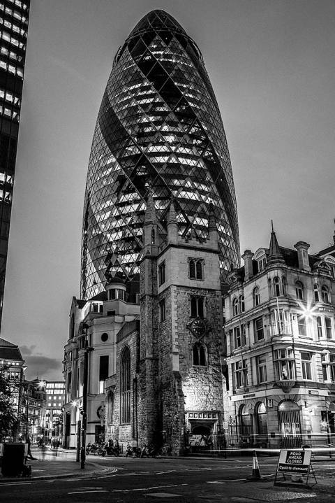 London Gherkin Building Street Scene at Night
