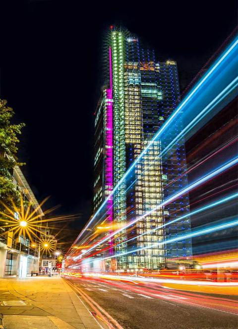 London Heron Tower at Night With Car Trail Lights Street Scene