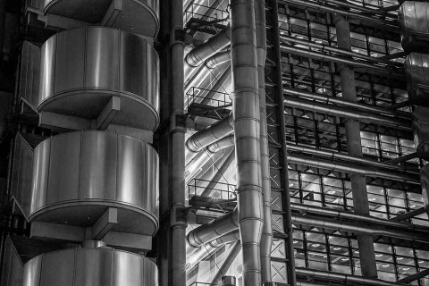 London Lloyds Building Architecture Close Up Metallic