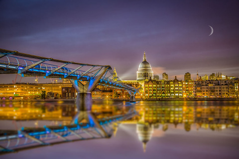 St Pauls Cathedral and the Millennium Bridge at Night