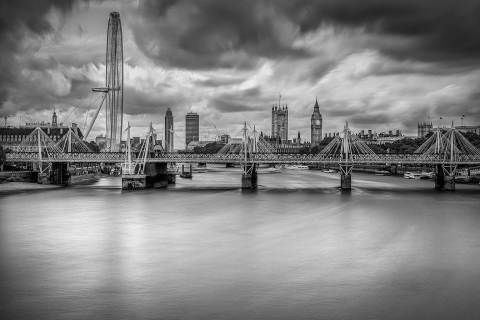 London Eye Millennium Bridge and Big Ben by River Thames Long Exposure