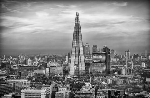 London architecture Shard Skyscraper Building Cityscape in black and white