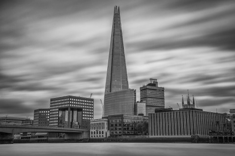London Shard Building and River Thames Long Exposure