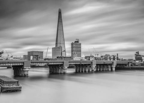 London Shard Building and Bridge over River Thames Long Exposure