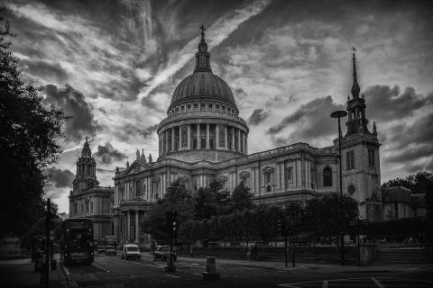 London St Pauls Cathedral Architecture with moody sky clouds
