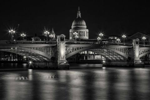 St Pauls Cathedral and London Bridge over River Thames at Night