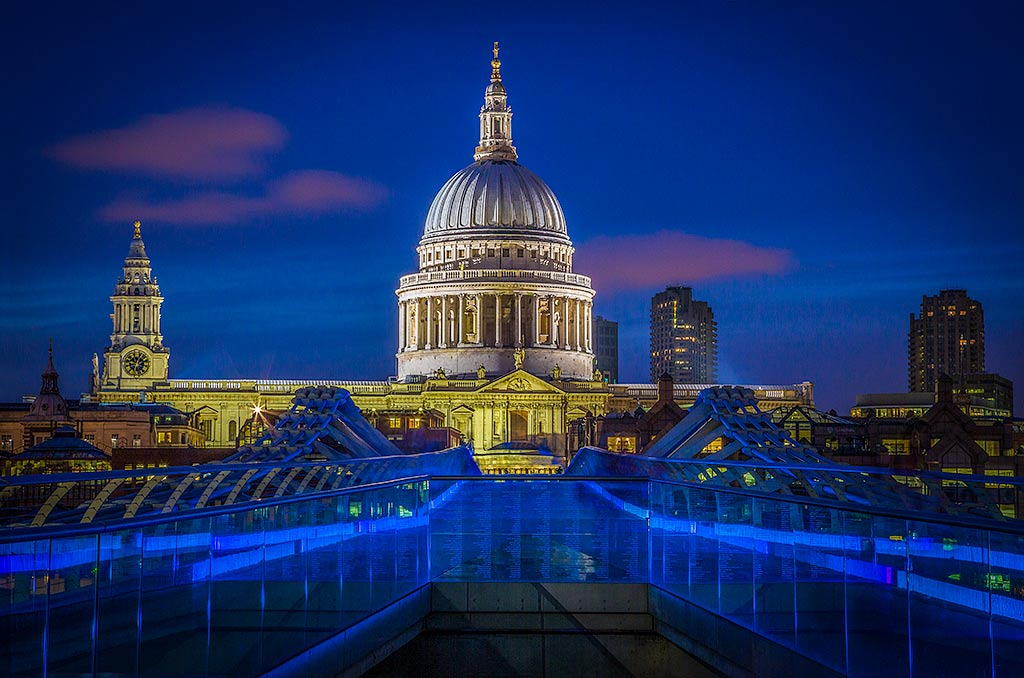 St Pauls Cathedral View from the Millennium Bridge at Night